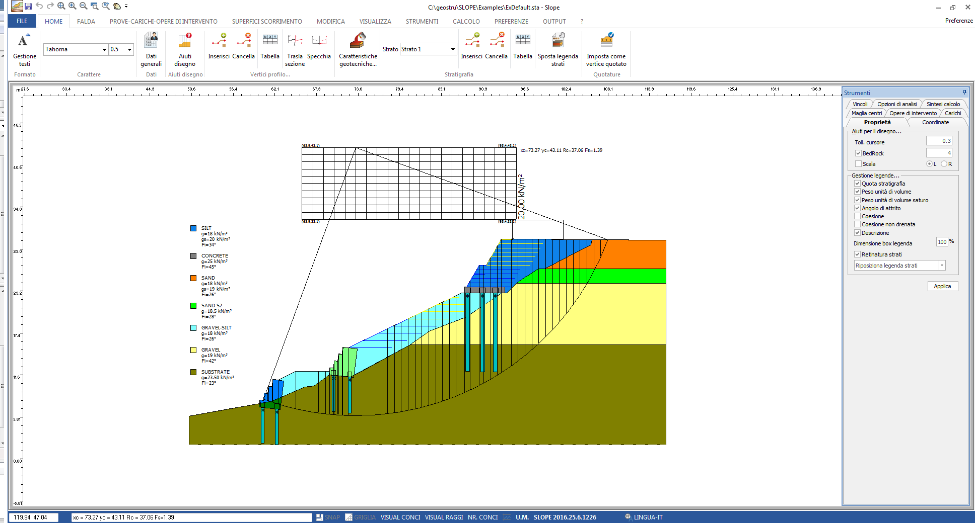 Slope stability analysis - Slope