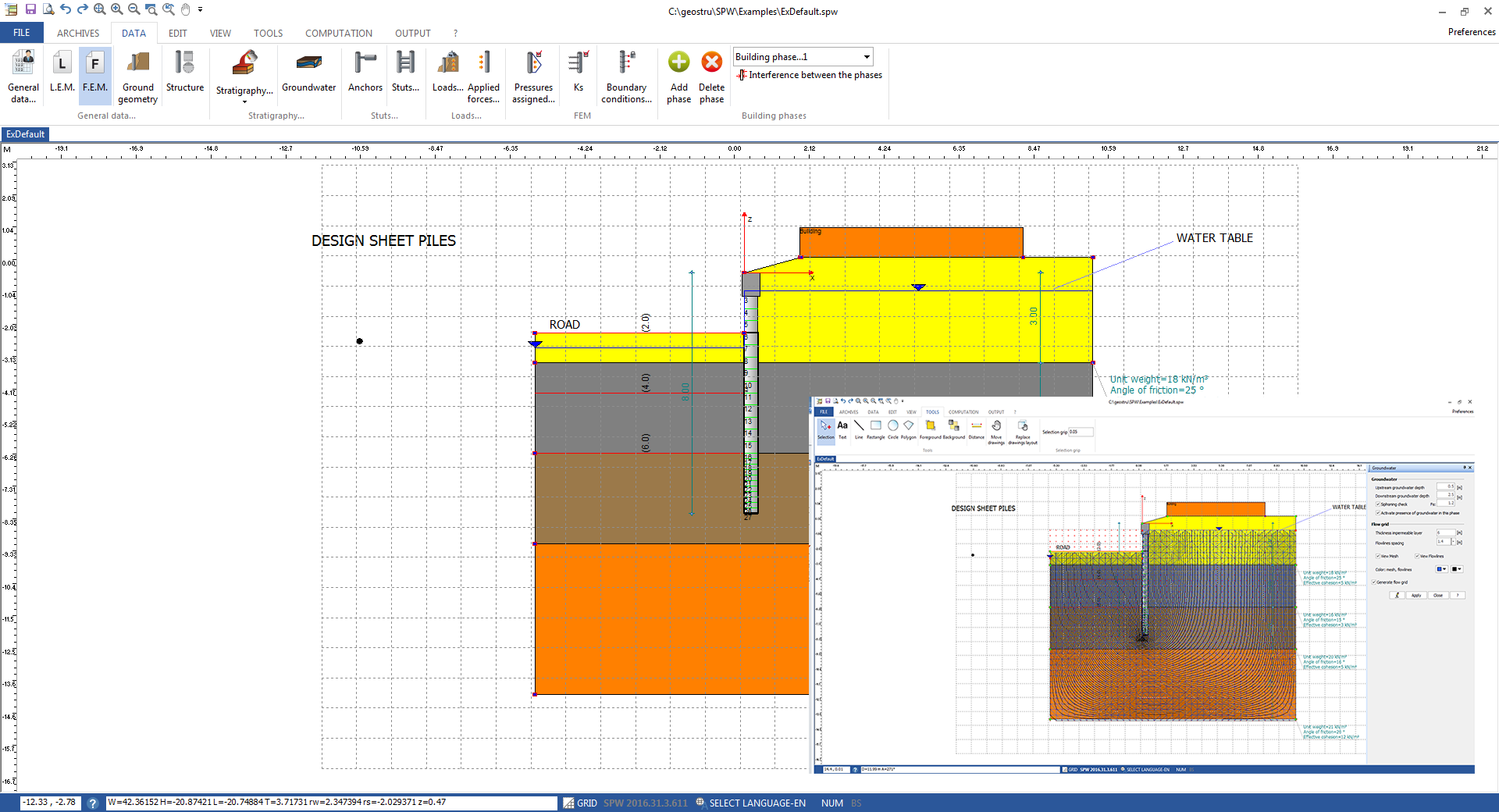 Free Retaining Wall Design Software geo 5 mse wall verification of overall stability in program slope stability Sheet Pile Wall Design Spw