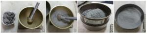 Preparazione del campione. Passaggi per la pestellatura del materiale secco